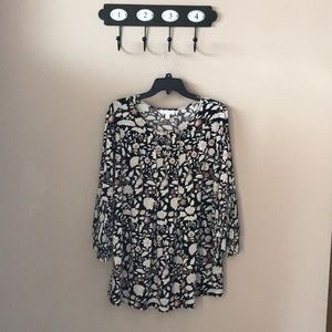 Black blouse with white flowers/feathered sleeves